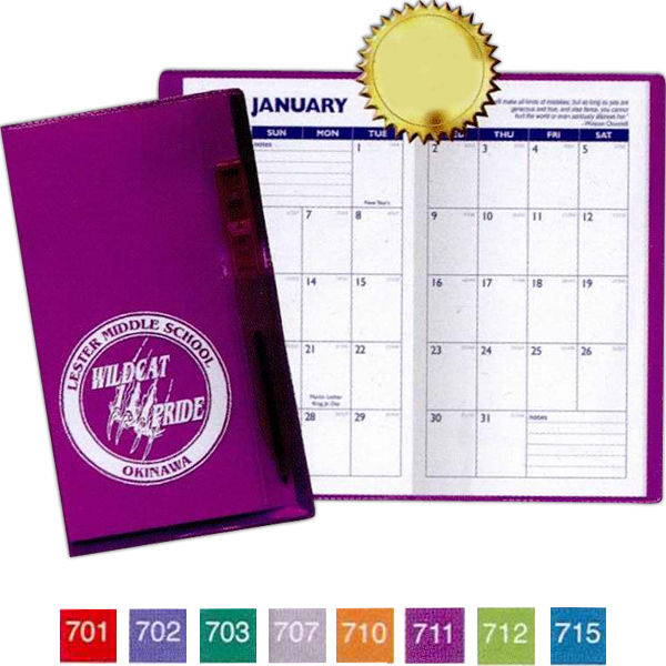 Translucent Vinyl Cover Pocket Planner w/ Flat Matching Pen