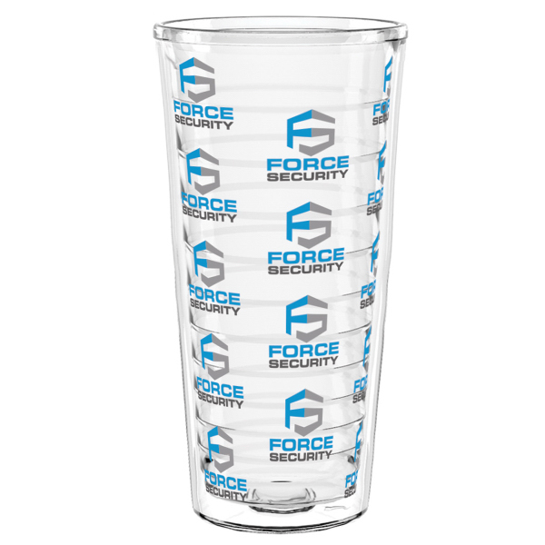 """22 oz """"Shelby"""" Clear Double Wall Tumbler WITH LID and STRAW"""