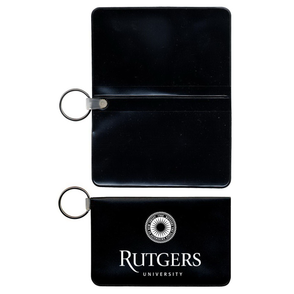 Foldover Card Case with Key Ring and 2 Clear Pockets