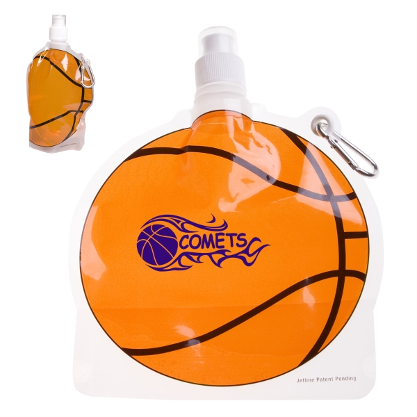 HydroPouch(TM) 24 oz. Basketball Collapsible Water Bottle