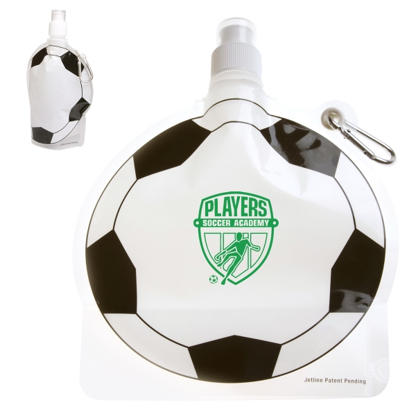 HydroPouch(TM) 24 oz. Soccer Ball Collapsible Water Bottle