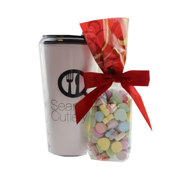 Plastic Travel Mug w Conversation Hearts - 16 oz. Drinkware