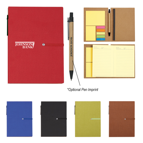 Notebook With Sticky Notes And Matching Pen