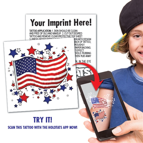 Augmented Reality - AR- US Flag Tatttoo with custom back