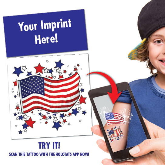 Augmented Reality - AR- US Flag Tattoo with tear-off header