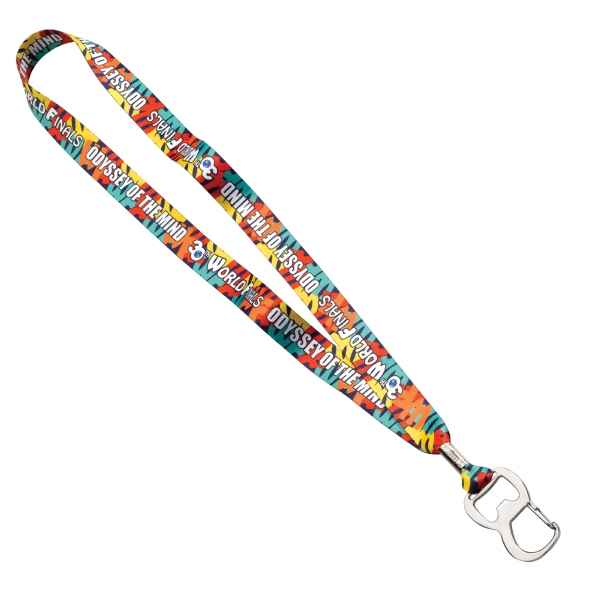 "3/4"" Dye-Sublimated Lanyard with Metal Bottle Opener"