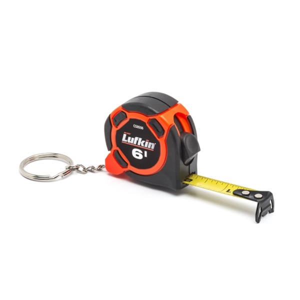 "Lufkin 1/2"" x 6 ft Key Ring Tape, Black/orange Plastic case"