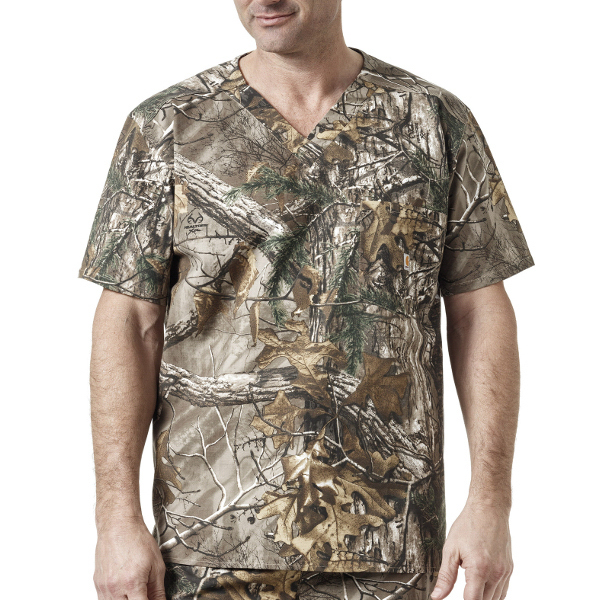 RealTree V-Neck 1 Pocket Print Top
