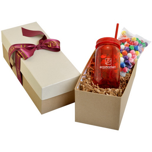 Mason Jar 21oz in Gift Box with Gumballs