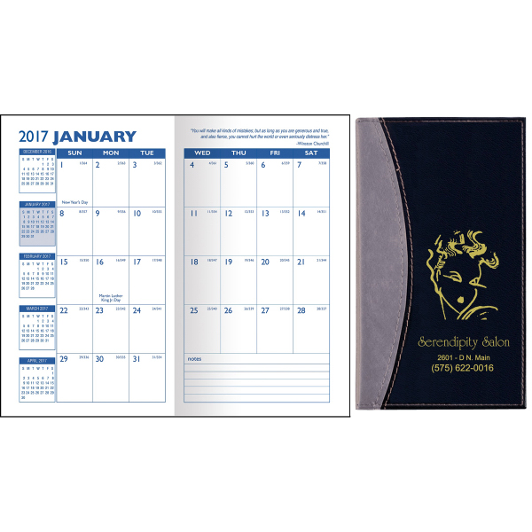 Normandy Two-Tone Vinyl Soft Cover Monthly Pocket Planner