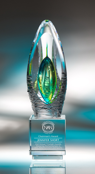 Elation Art Glass Crystal Award - Small