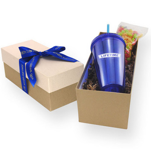 Gift Box with Tumbler and Chocolate Covered Raisins