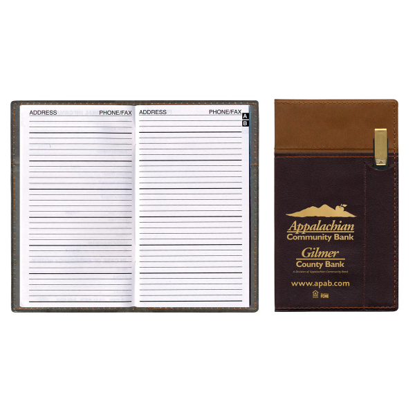 Delano Two Tone Vinyl Cover Address Book with Flat Gold Pen