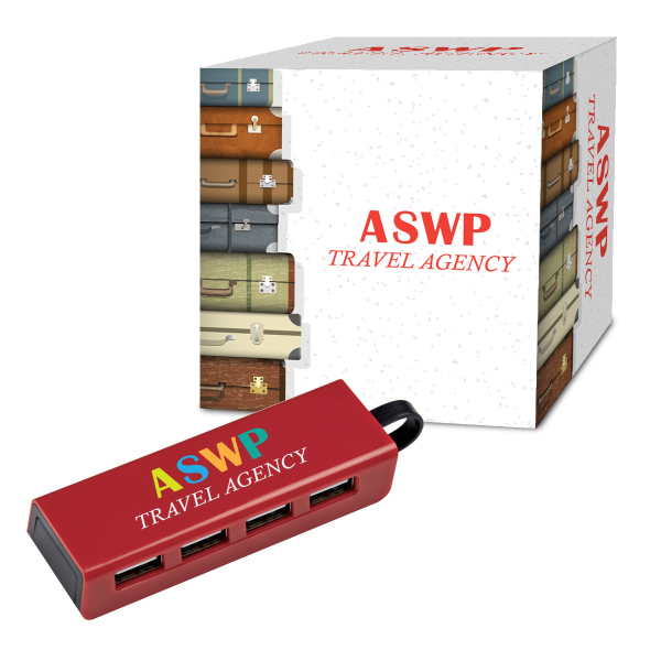 4-Port Traveler USB Hub / Phone Stand With Custom Box