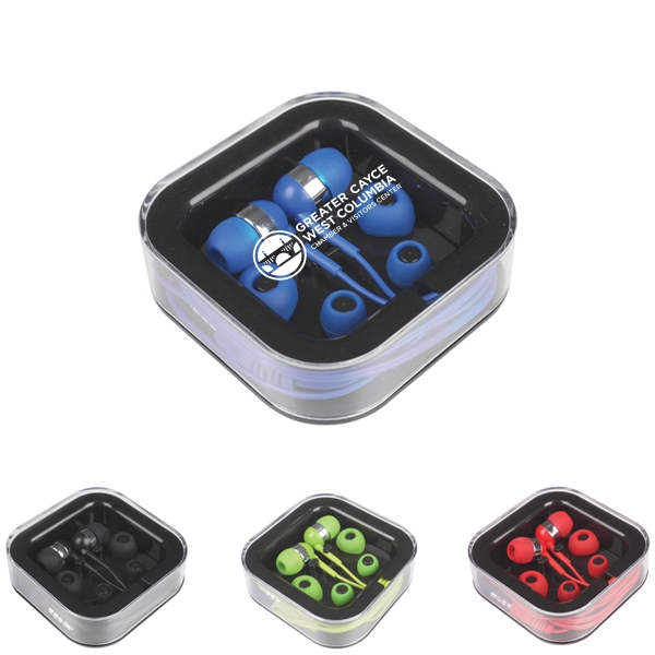 Earbuds with Mic in Square Case