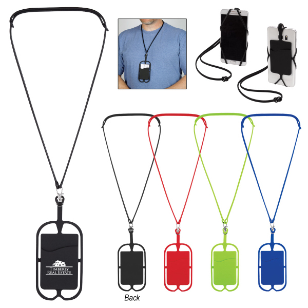 Silicone Lanyard With Card Sleeve - Phone Wallet or Holder