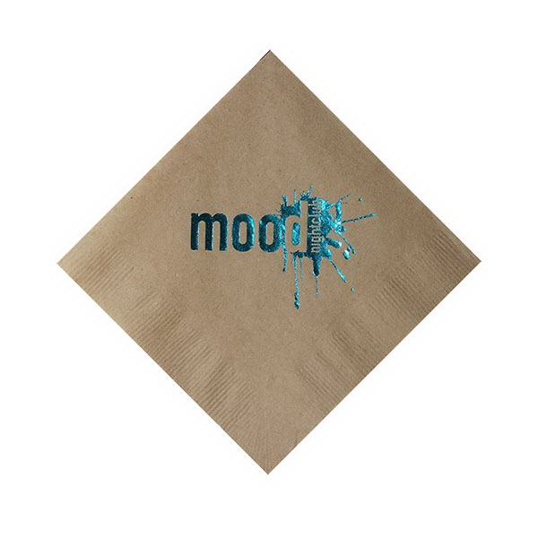 Foil Stamped 1-Ply Kraft Beverage Napkin