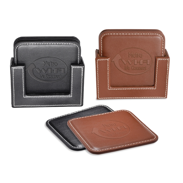 Vintage Leather 4-Square Coaster Set