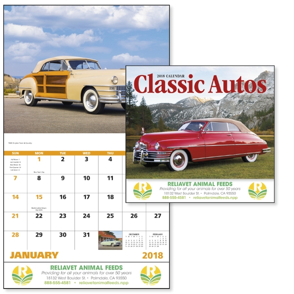 Stapled Classic Autos Vehicle Appointment Calendar