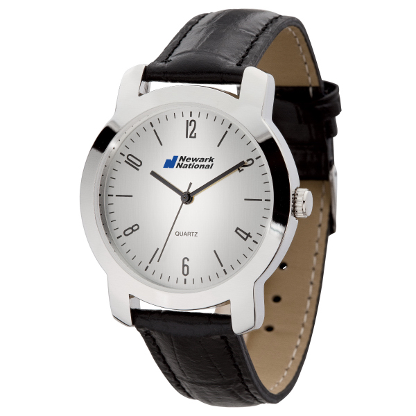 Men's Classic Style Watch w/ Polished Silver Finish