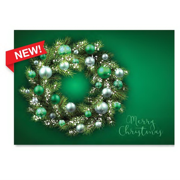 Green Ornament Wreath Greeting Card