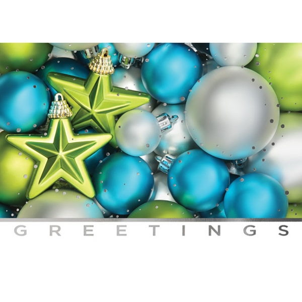 Blue & Green Ornaments Greeting Card