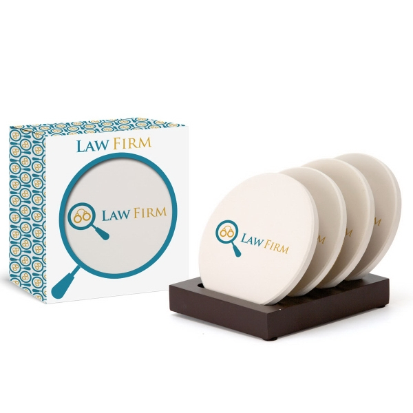 4pc Round Ceramic Coaster Set in Gift Box