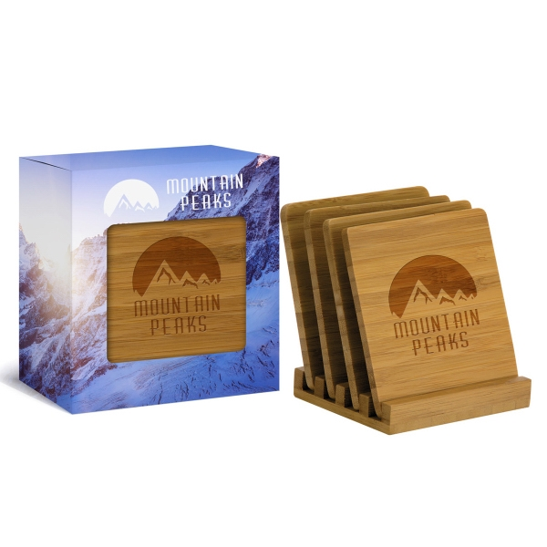 4pc Bamboo Coaster Set in Gift Box