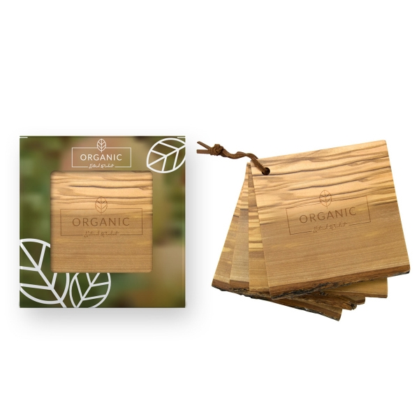 4pc Natural Olive Wood Coaster Set in Gift Box