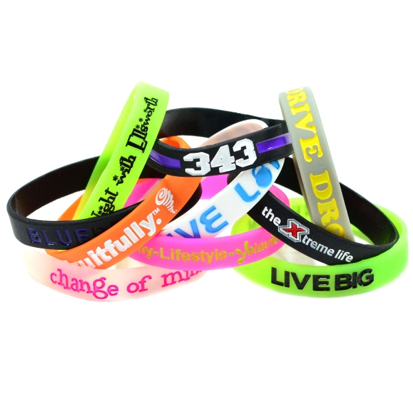 "Color Filled 1/2"" Glow in the Dark Silicone Wristband"