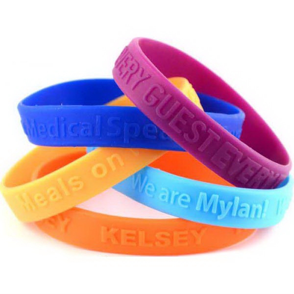 "1/2"" Embossed Glow in the Dark Silicone Wristbands"