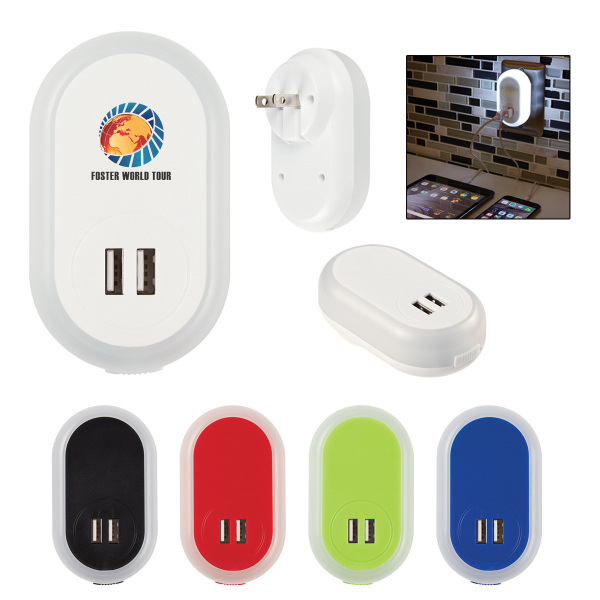 LED Nightlight With Dual Port USB Adapter