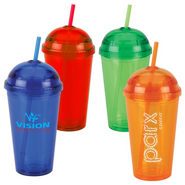 16 Oz Acrylic Dome Lid Double Wall Tumbler with Straw
