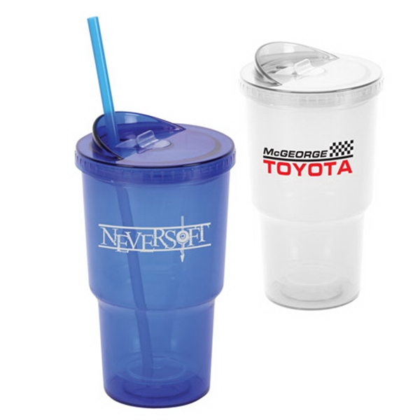 16 Oz Acrylic Double Wall Stadium Cup with Straw
