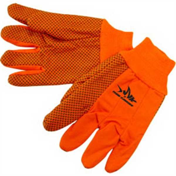 Double Palm Canvas Work Gloves w/ Black PVC Dots