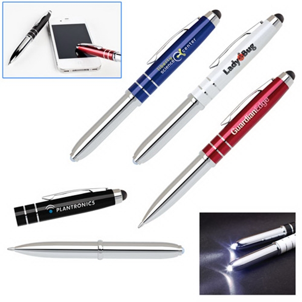 3 in 1 Soft-Touch Stylus, LED Flashlight and Ballpoint Pen