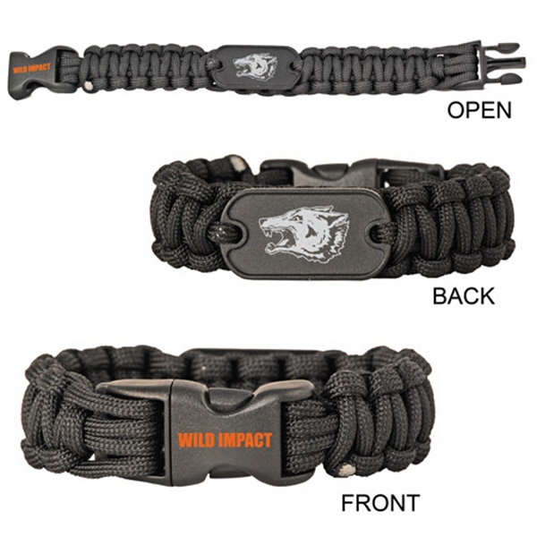 "Premium 10"" Paracord Survival Bracelet with Aluminum Dog Tag"