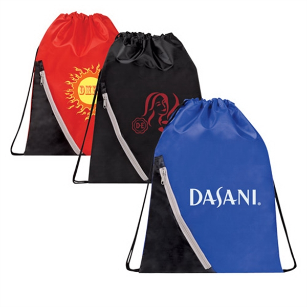 Promo Drawstring Backpack with Zippered Corner Pocket