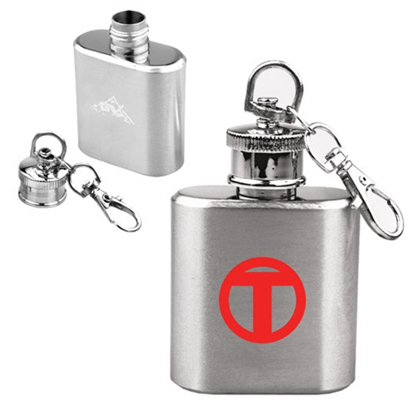 1 OZ Compact Stainless Steel Flask with Key Chain