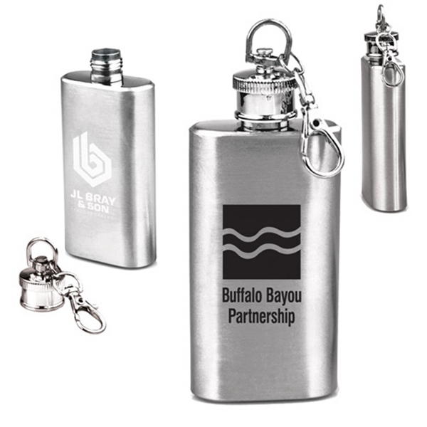 2 OZ Compact Stainless Steel Flask with Key Chain
