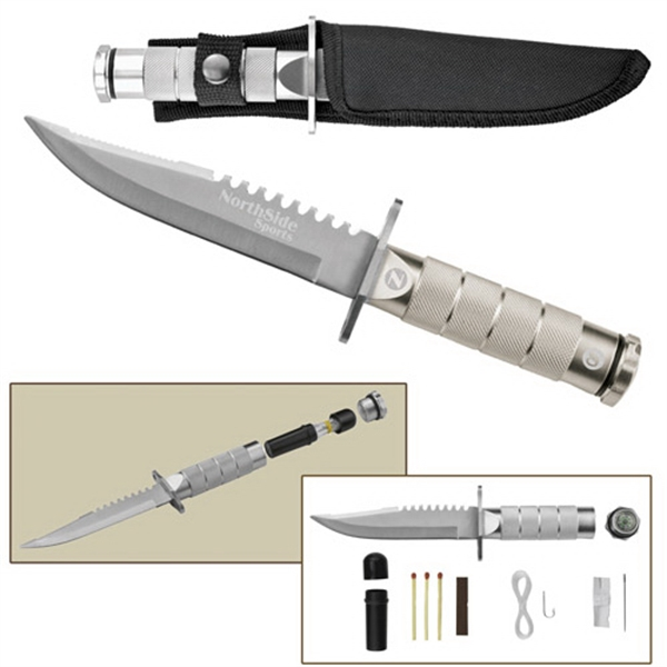 """8"""" Silver Stainless Steel Survival Hunting Knife"""