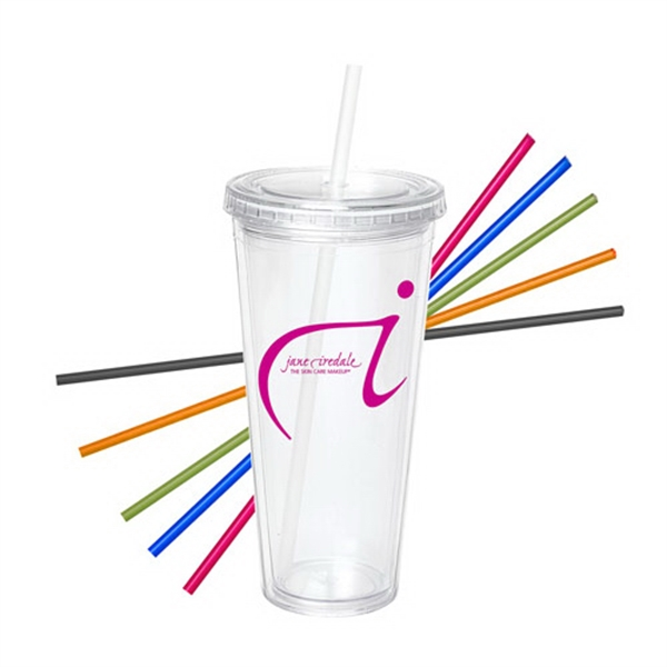 24 Oz Acrylic Double Wall Tumbler with Straw