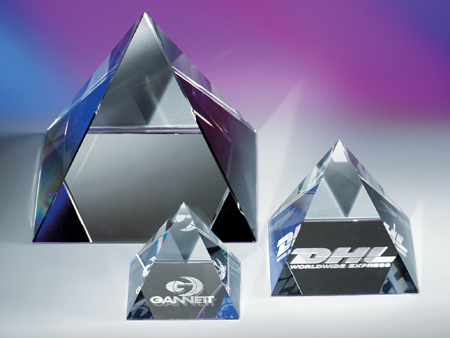 Pyramid shape crystal paperweights by Crystal World.