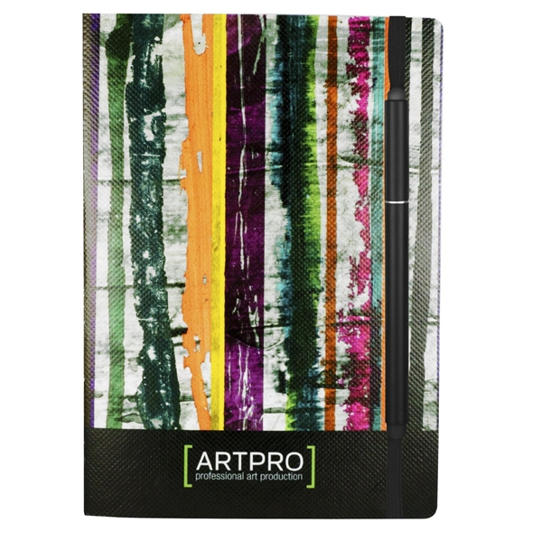 """5"""" X 7"""" Perfect Poly-Fabric Cover Notebook with Elastic Pen"""
