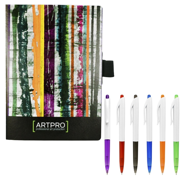 """5"""" X 7"""" Perfect Poly-Fabric Cover Notebook with Pen"""