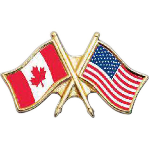 "Stock Design 1-1/4"" Crossed Flags Lapel Pin"