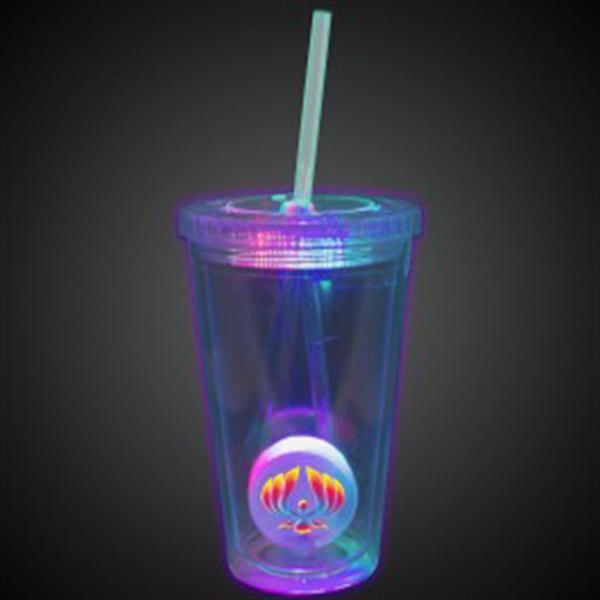 Multi Color Light Up Travel Cup with Custom Printed Insert