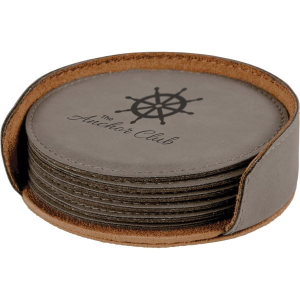 Leatherette Round 6 Coaster Set - Gray