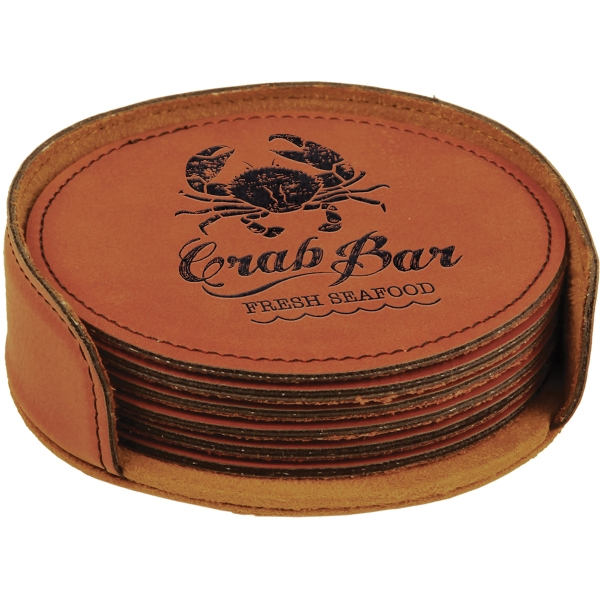 Leatherette Round 6 Coaster Set - Rawhide