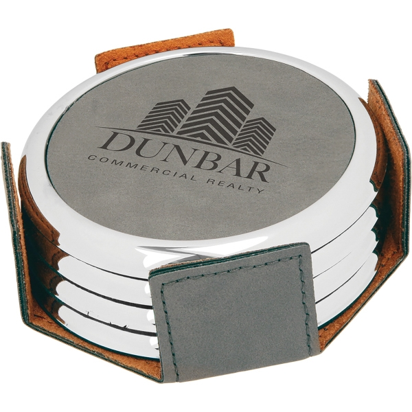 Leatherette Silver/Gold Edge Round 4 Coaster Set - Gray